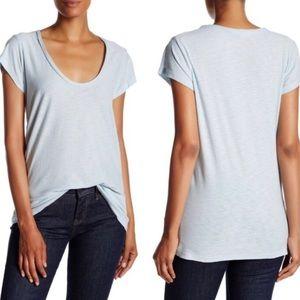 James Perse Deep V-Neck Blue Short Sleeve T-Shirt